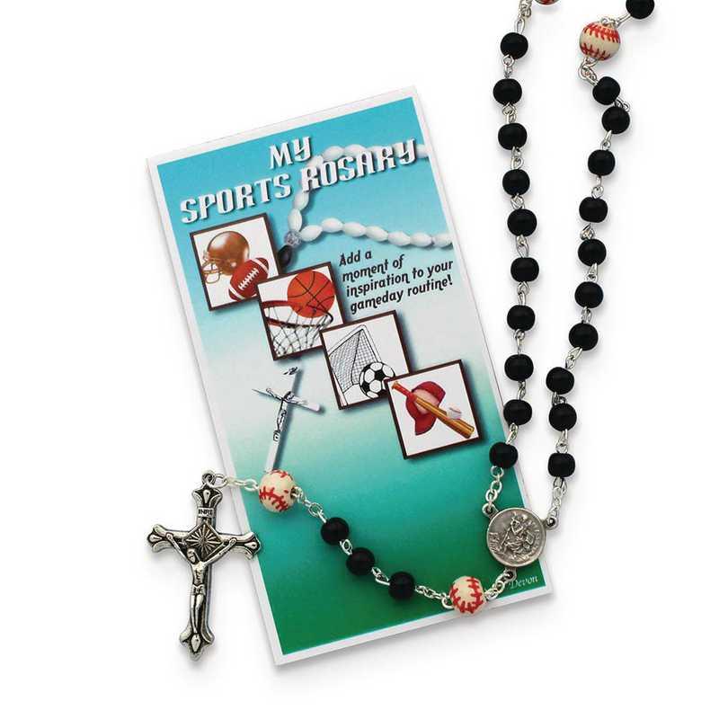 GM19742: Boys Black Baseball Sports Rosary