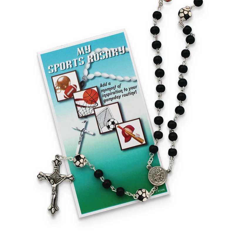 GM19745: Boys Black Soccer Sports Rosary