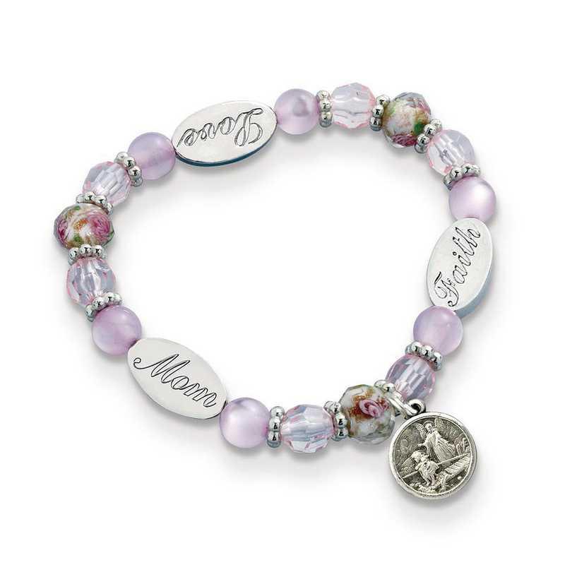 GM19756: Mom Guardian Angel Crystal Stretch Bracelet