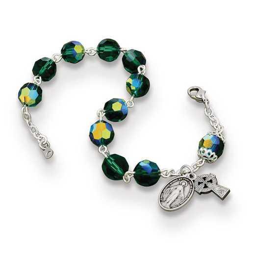 GM22163: Tin-Cut Bohemian Celtic Emerald Bracelet