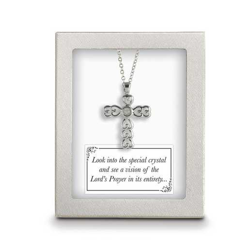 GM4179: Silver-Tone 18 inch Lords Prayer Crystal Cross Necklace