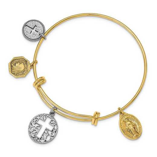 RF586: Gold-Tone Cross and Medals Bangle