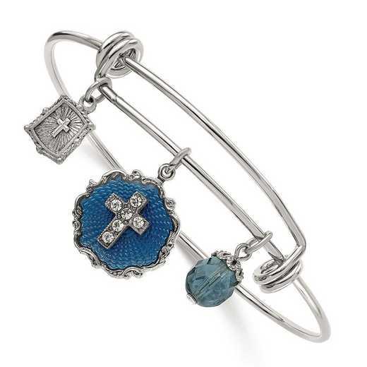 RF595: Silver-Tone Blue Enamel Crystal Cross Charm Bangle