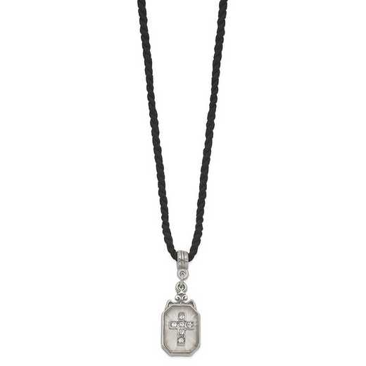 RF621: Silver-Tone Frosted Glass with Crystal Cross and Black Cord