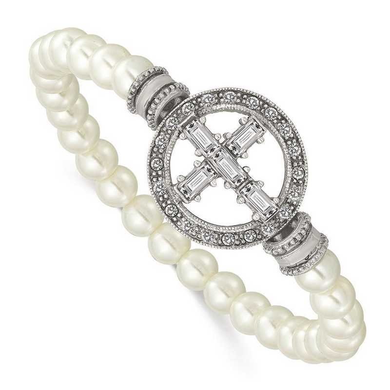 RF629: Pewter-Tone with Crystal Cross and Faux Pearl Stretch Brc