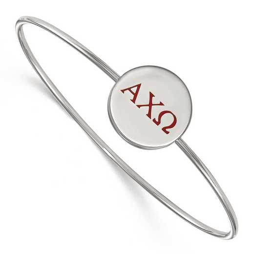 SS023ACO-8: StrlngSlvr LogoArt Alpha Chi Omega Enameled Slip-on Bangle