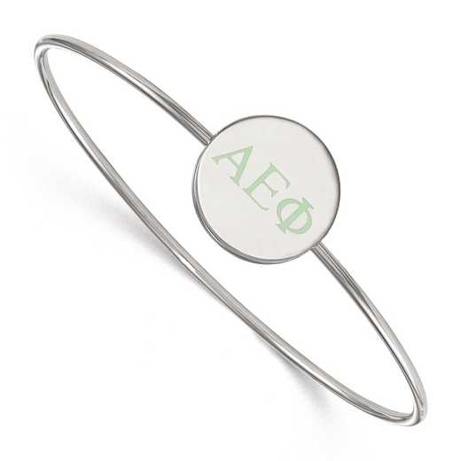 SS023AEP-8: StrlngSlvr LogoArt Alpha Epsilon Phi Enameled Slip-on Bangle