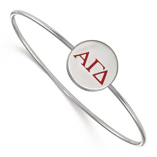 SS023AGD-7: StrlngSlvr LogoArt Alpha Gamma Delta Enameled Slip-on Bangle