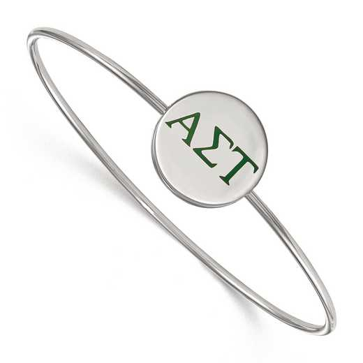 SS023ALS-7: StrlngSlvr LogoArt Alpha Sigma Tau Enameled Slip-on Bangle