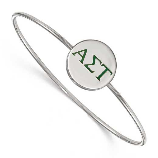 SS023ALS-8: StrlngSlvr LogoArt Alpha Sigma Tau Enameled Slip-on Bangle