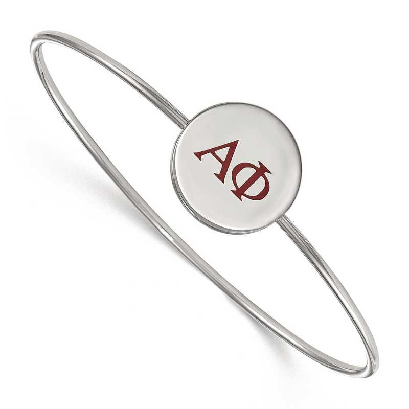SS023APH-7: StrlngSlvr LogoArt Alpha Phi Enameled Slip-on Bangle