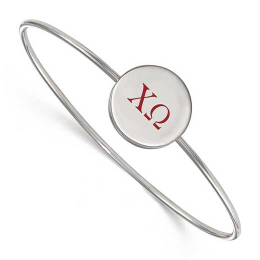 SS023CHO-7: StrlngSlvr LogoArt Chi Omega Enameled Slip-on Bangle