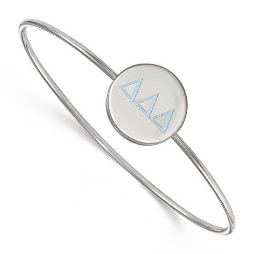 SS023DDD-7: StrlngSlvr LogoArt Delta Delta Delta Enameled Slip-on Bangle