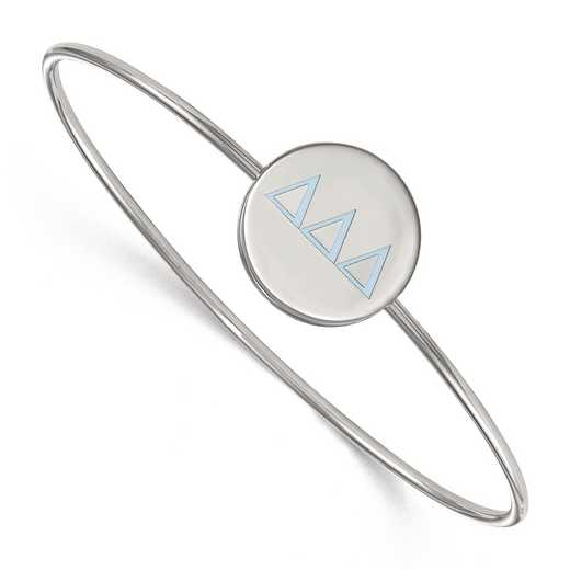 SS023DDD-8: StrlngSlvr LogoArt Delta Delta Delta Enameled Slip-on Bangle