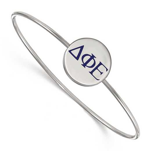 SS023DPH-7: StrlngSlvr LogoArt Delta Phi Epsilon Enameled Slip-on Bangle