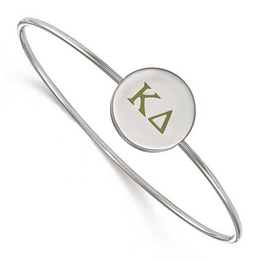 SS023KD-8: StrlngSlvr LogoArt Kappa Delta Enameled Slip-on Bangle