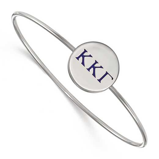 SS023KKG-7: StrlngSlvr LogoArt Kappa Kappa Gamma Enameled Slip-on Bangle