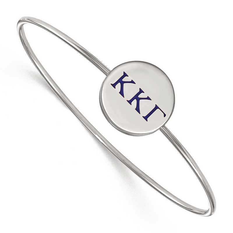 SS023KKG-7: StrlngSlvr LogoArt Kappa Kappa Gamma Enameled Slip-on Bangle
