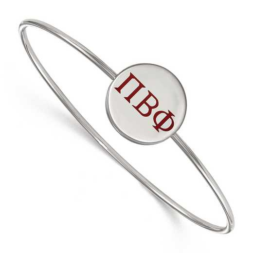 SS023PBP-7: StrlngSlvr LogoArt Pi Beta Phi Enameled Slip-on Bangle