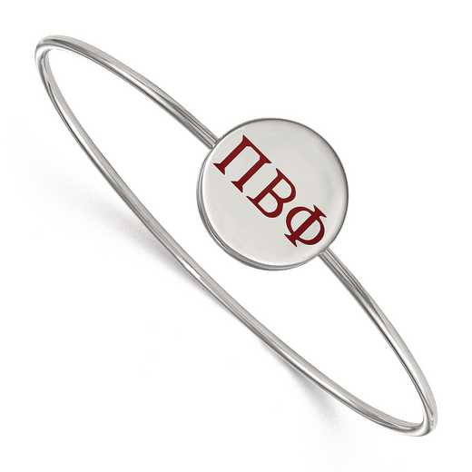 SS023PBP-8: StrlngSlvr LogoArt Pi Beta Phi Enameled Slip-on Bangle