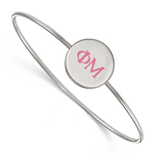 SS023PHM-8: StrlngSlvr LogoArt Phi Mu Enameled Slip-on Bangle