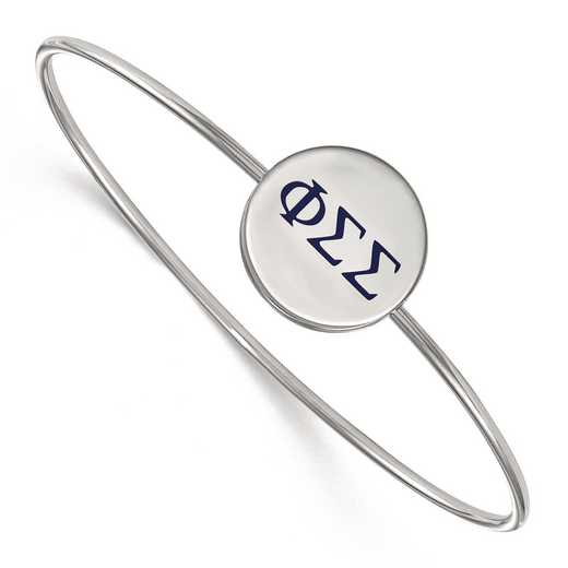 SS023PSS-7: StrlngSlvr LogoArt Phi Sigma Sigma Enameled Slip-on Bangle