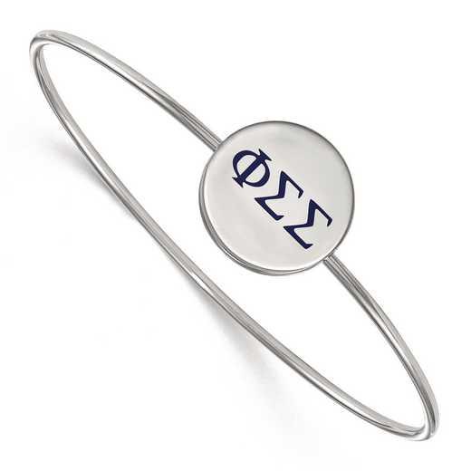 SS023PSS-8: StrlngSlvr LogoArt Phi Sigma Sigma Enameled Slip-on Bangle