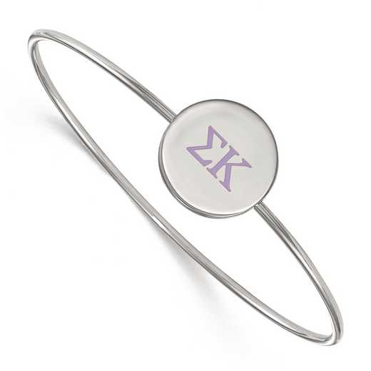 SS023SKP-7: StrlngSlvr LogoArt Sigma Kappa Enameled Slip-on Bangle