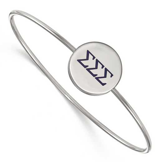 SS023SSS-8: StrlngSlvr LogoArt Sigma Sigma Sigma Enameled Slip-on Bangle