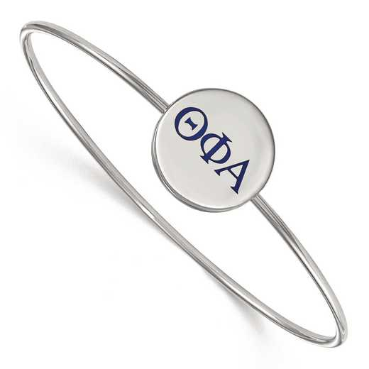 SS023TPA-7: StrlngSlvr LogoArt Theta Phi Alpha Enameled Slip-on Bangle