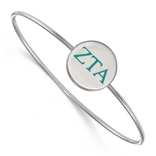 SS023ZTA-8: StrlngSlvr LogoArt Zeta Tau Alpha Enameled Slip-on Bangle