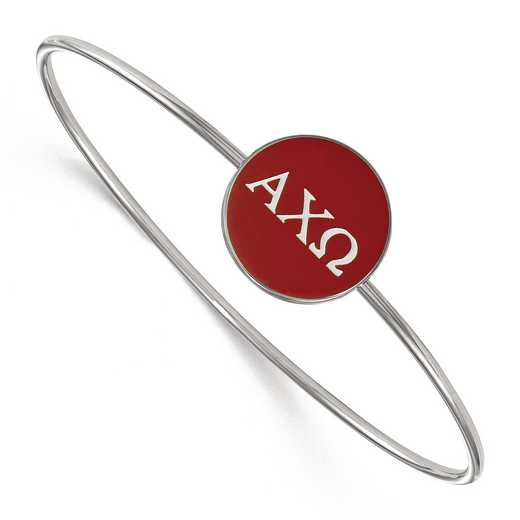 SS024ACO-8: StrlngSlvr LogoArt Alpha Chi Omega Enameled Slip-on Bangle