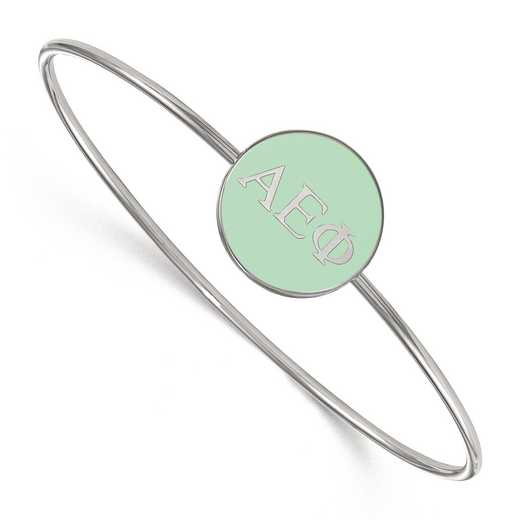 SS024AEP-7: StrlngSlvr LogoArt Alpha Epsilon Phi Enameled Slip-on Bangle