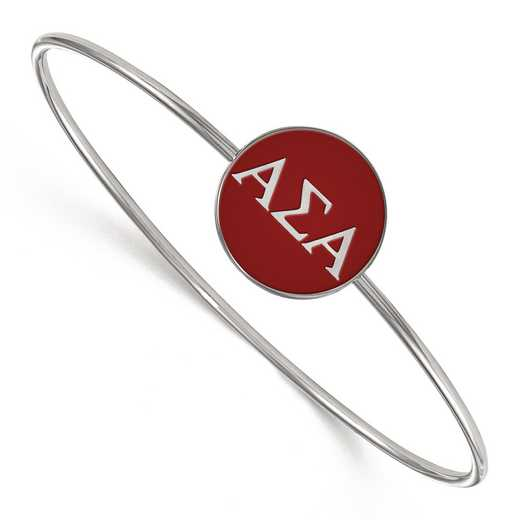 SS024ASI-8: StrlngSlvr LogoArt Alpha Sigma Alpha Enameled Slip-on Bangle