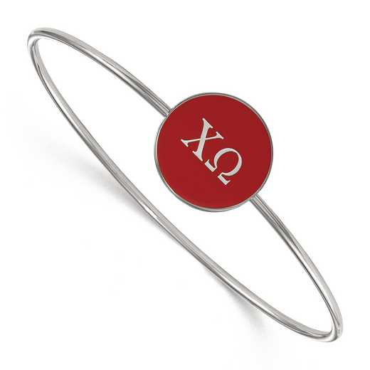 SS024CHO-7: StrlngSlvr LogoArt Chi Omega Enameled Slip-on Bangle