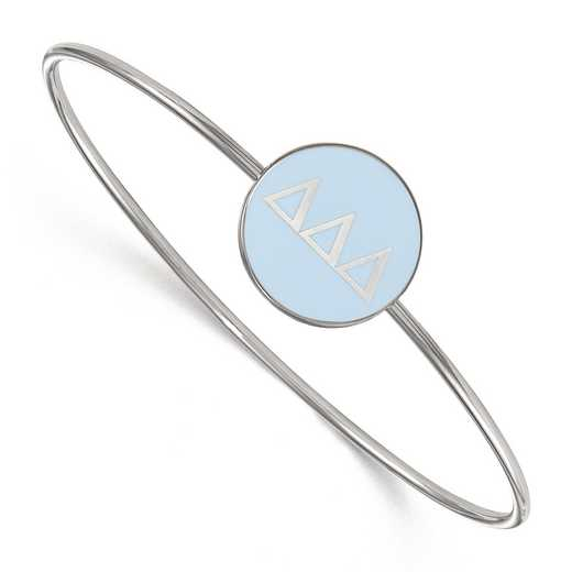 SS024DDD-8: StrlngSlvr LogoArt Delta Delta Delta Enameled Slip-on Bangle