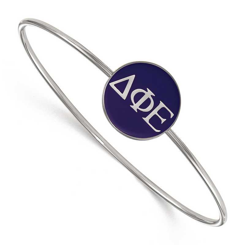 SS024DPH-8: StrlngSlvr LogoArt Delta Phi Epsilon Enameled Slip-on Bangle