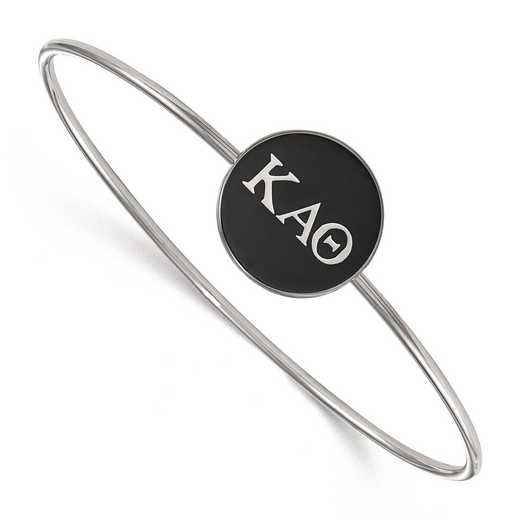 SS024KAT-7: StrlngSlvr LogoArt Kappa Alpha Theta Enameled Slip-on Bangle