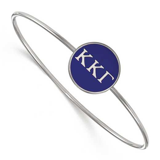 SS024KKG-7: StrlngSlvr LogoArt Kappa Kappa Gamma Enameled Slip-on Bangle