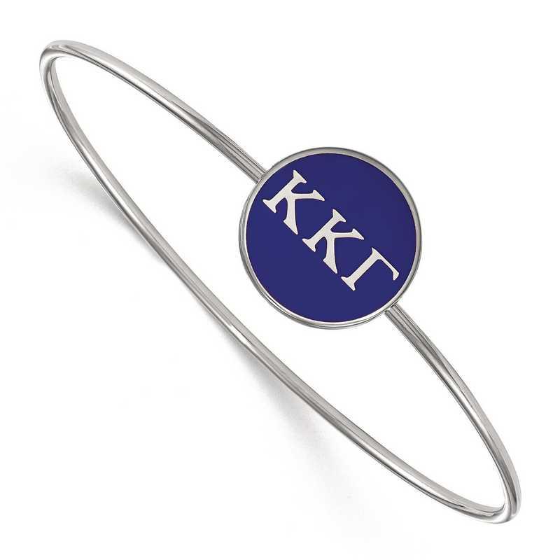 SS024KKG-8: StrlngSlvr LogoArt Kappa Kappa Gamma Enameled Slip-on Bangle