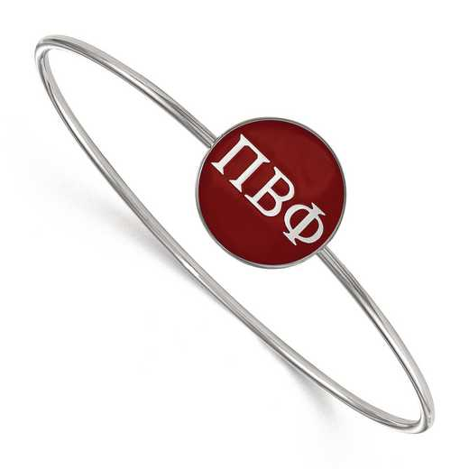 SS024PBP-7: StrlngSlvr LogoArt Pi Beta Phi Enameled Slip-on Bangle