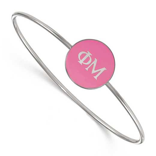 SS024PHM-7: StrlngSlvr LogoArt Phi Mu Enameled Slip-on Bangle
