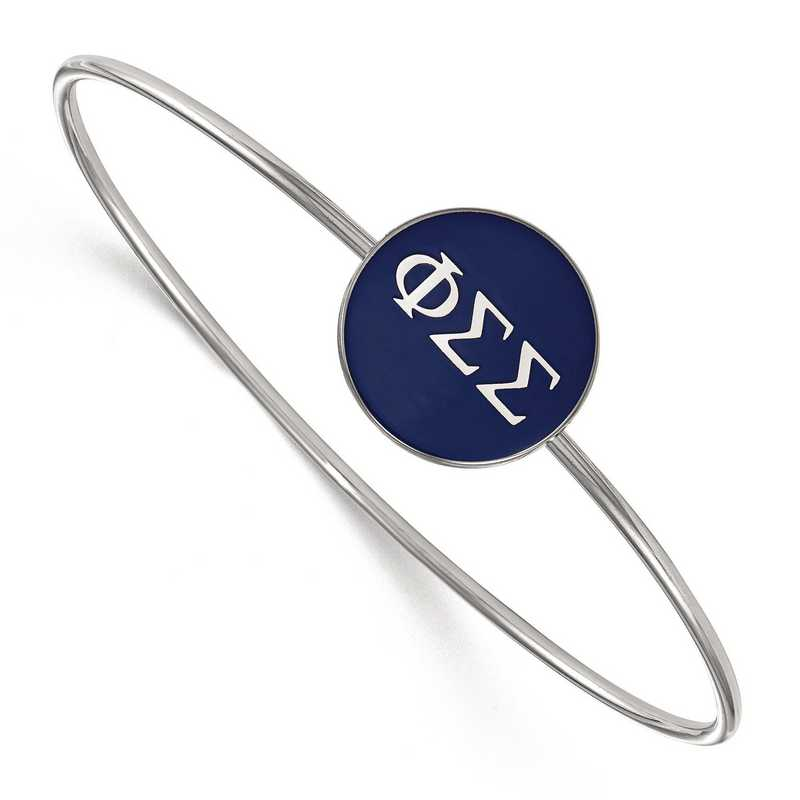 SS024PSS-7: StrlngSlvr LogoArt Phi Sigma Sigma Enameled Slip-on Bangle