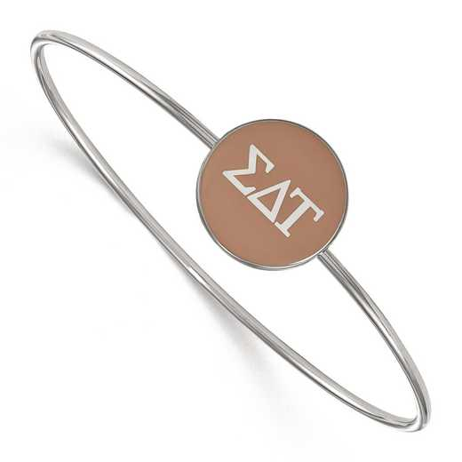 SS024SDT-7: StrlngSlvr LogoArt Sigma Delta Tau Enameled Slip-on Bangle