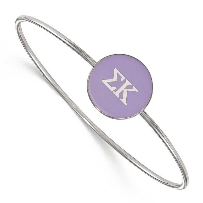 SS024SKP-7: StrlngSlvr LogoArt Sigma Kappa Enameled Slip-on Bangle