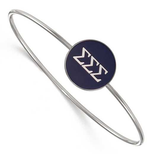 SS024SSS-8: StrlngSlvr LogoArt Sigma Sigma Sigma Enameled Slip-on Bangle