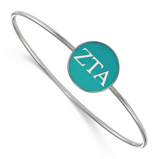 SS024ZTA-8: StrlngSlvr LogoArt Zeta Tau Alpha Enameled Slip-on Bangle