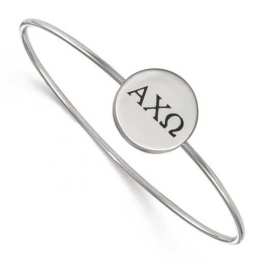 SS025ACO-8: StrlngSlvr LogoArt Alpha Chi Omega Enameled Slip-on Bangle