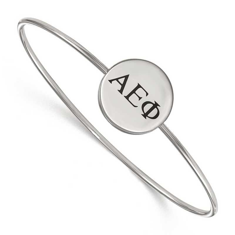 SS025AEP-7: StrlngSlvr LogoArt Alpha Epsilon Phi Enameled Slip-on Bangle