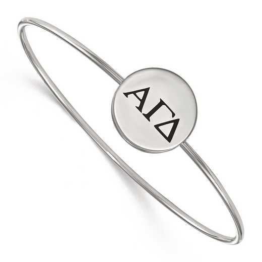 SS025AGD-7: StrlngSlvr LogoArt Alpha Gamma Delta Enameled Slip-on Bangle